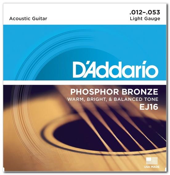 Струни для акустичної гітари D`ADDARIO EJ16 PHOSPHOR BRONZE LIGHT 12-53