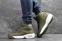 Кроссовки зимние мужские Fila Yalor высокие стильные молодежные фила нубук+пена+мех (зеленые), ТОП-реплика, фото 1