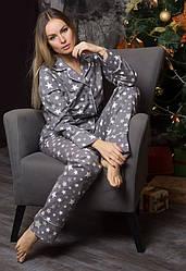 Домашний костюм теплый фланелевая пижама женская, кофта с брюками