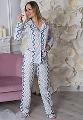 Теплый домашний костюм женский, фланелевая пижама кофта с брюками