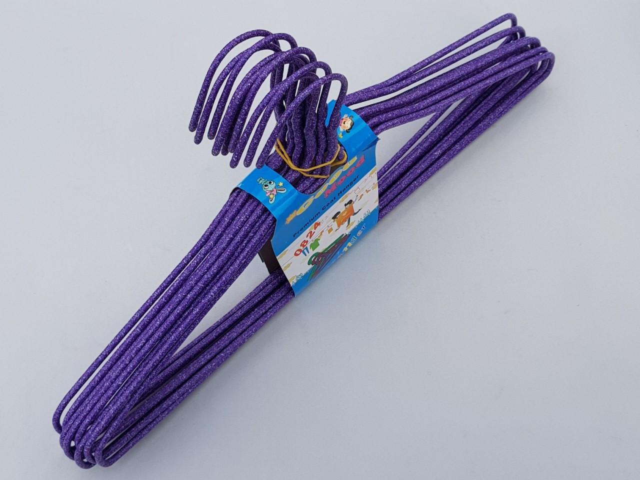 Плечики металлические проволочные в порошковой покраске фиолетового цвета, 39,5 см,10 штук в упаковке