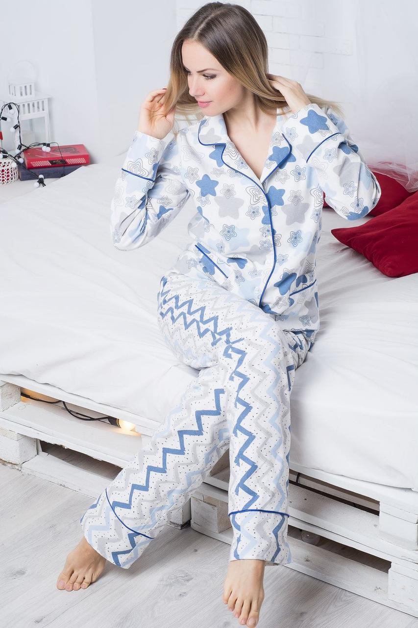Домашний костюм женский теплый, фланелевая пижама кофта с брюками
