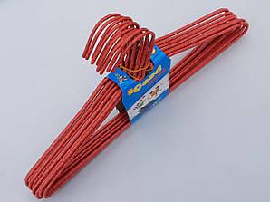 Плечики металлические проволочные в порошковой покраске красного цвета, 39,5 см,10 штук в упаковке