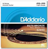 Струни для 12 струнної акустичної гітари d'addario EZ940 BRONZE MEDIUM 12 STRINGS 10-50