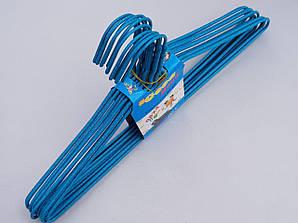 Плечики металлические проволочные в порошковой покраске голубого цвета, 39,5 см,10 штук в упаковке