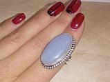 Красивое кольцо с камнем ангелит в серебре. Кольцо овальное с ангелитом. Размер 17-17,5. Индия, фото 5