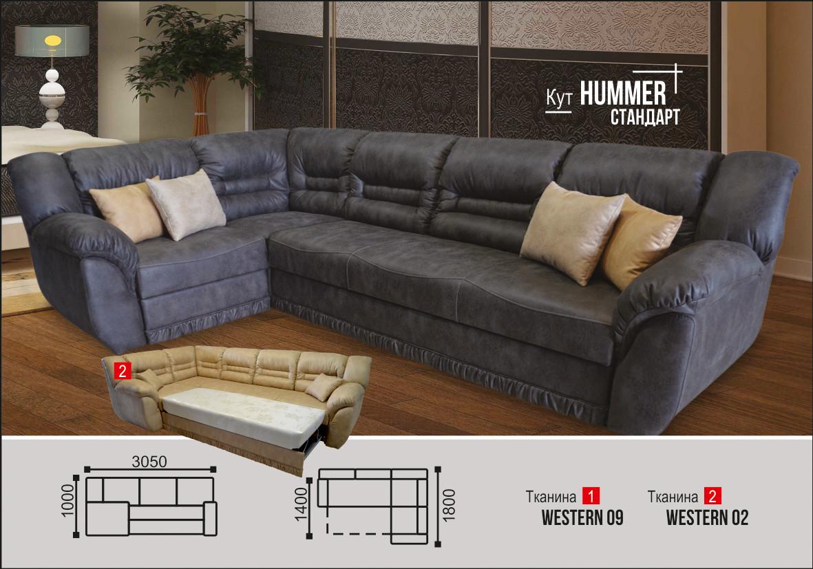 Угловой диван Хаммер 3.05 серый (рони 03) Элизиум