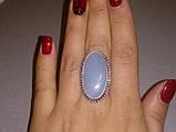 Красивое кольцо с камнем ангелит в серебре. Кольцо овальное с ангелитом. Размер 17-17,5. Индия, фото 4