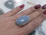 Красивое кольцо с камнем ангелит в серебре. Кольцо овальное с ангелитом. Размер 17-17,5. Индия, фото 2