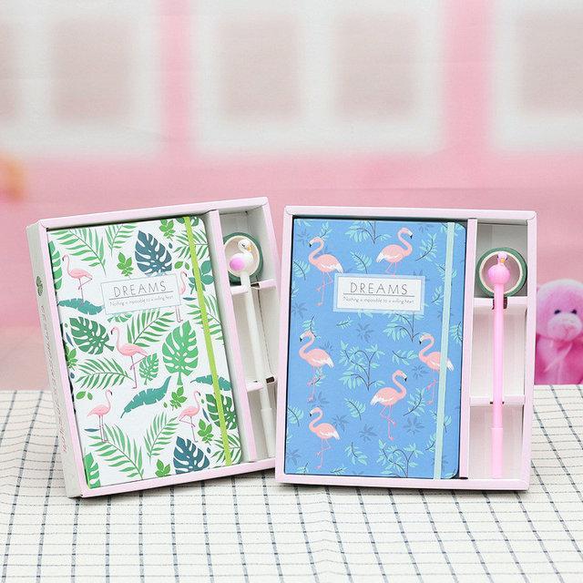 Блокнот и ручка Фламинго в подарочной упаковке