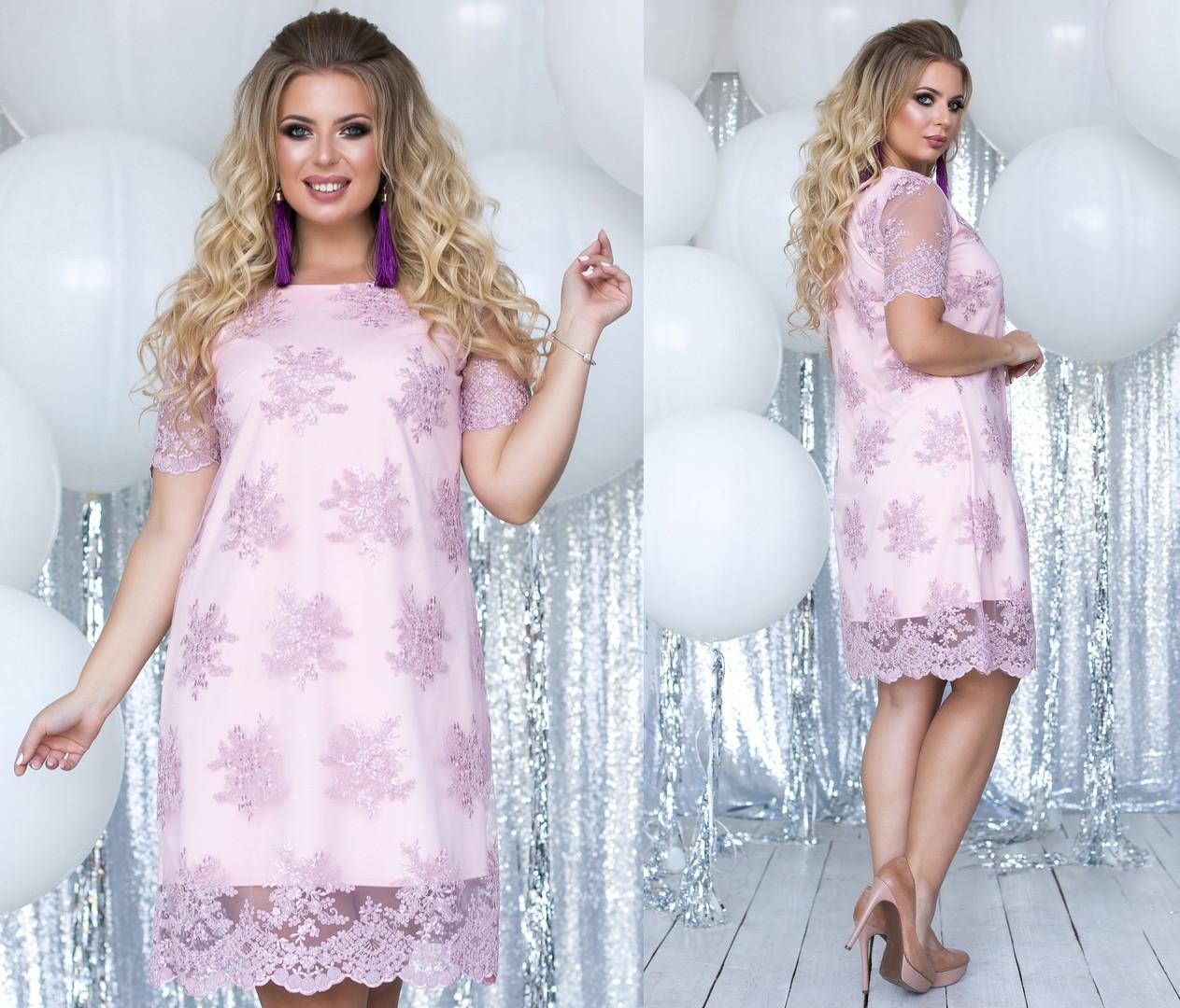 Женское праздничное и очень красивое платье ( трикотаж+ сетка с вышивкой) батал