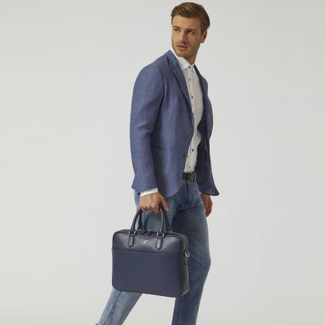 Мужской кожаный классический портфель Armani