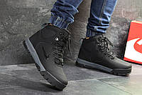 Мужские зимние кроссовки Nike (р.41-46). артикул 6886 черные с серым