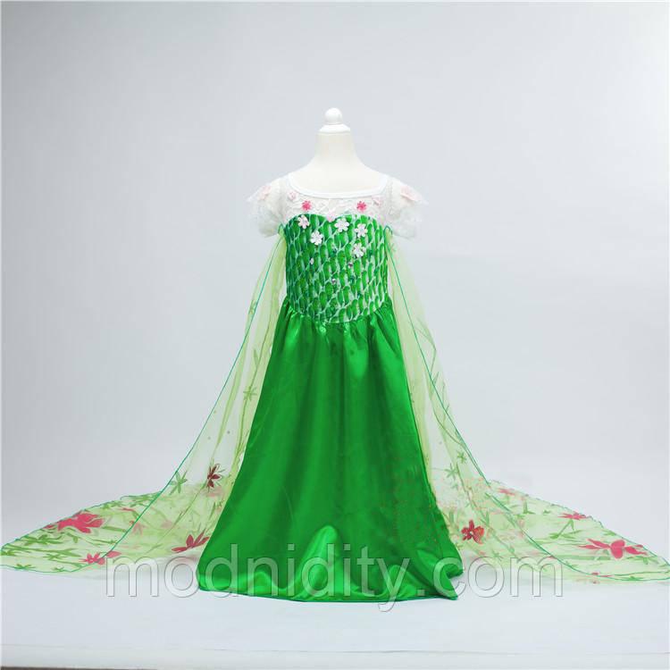 683152514a5 Детское карнавальное зеленое платье Эльзы с шлейфом на 3-6 лет ...