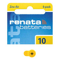 Батарейка для слуховых аппаратов Renata ZA10-D6 PR10 100mAh