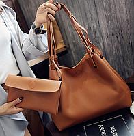 Сумка женская большая молодежная с кошельком шоппер Коричневый, фото 1