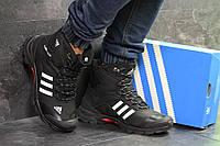 Кроссовки мужские зимние Adidas Climaproof высокие теплые удобные под джинсы (черные), ТОП-реплика, фото 1