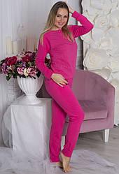 Домашний костюм женский, пижама кофта с брюками, малиновая
