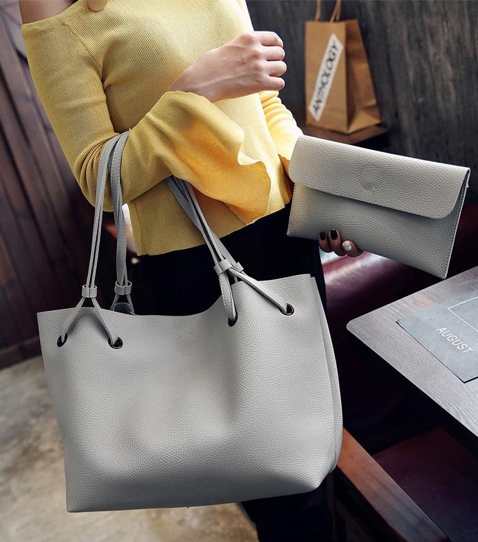 Женская сумка большая молодежная с кошельком шоппер Серый