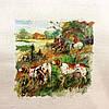 Основа для вишивки і декору Декупаж по текстилю Полювання 012, 27*24см