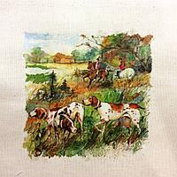 Основа для вишивки і декору Декупаж по текстилю Полювання 012, 27*24см, фото 1