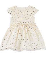 Нарядное платье для девочки Carter's (США) маслянное в  золотые сердечка
