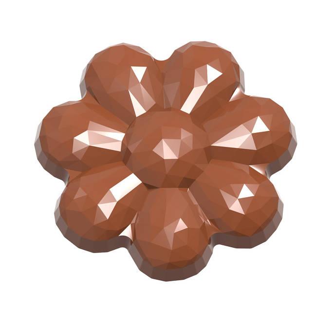 """Форма для шоколада """"Цветы с гранями"""" 42,5 H 6,5 мм, 10  шт x 6,5 gr"""