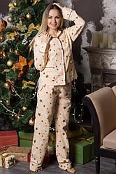 Фланелевая пижама теплая женская байковая кофта с брюками, зимняя