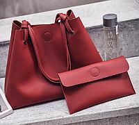 Сумка женская большая молодежная с кошельком шоппер Красный, фото 1