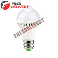 Лампа светодиодная с датчиком движения E27, 12 LED 5Вт