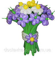 Весенний букет из разноцветных цветов из воздушных шаров 21шт
