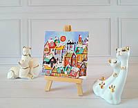 """Картинка с мольбертом """"Морозный полдень"""", вышитая чешским бисером."""