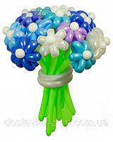 """Зимний букет цветов из воздушных шаров """"Сапфир""""  21шт"""