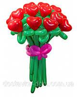 """Букет красных сердец из воздушных шаров для влюбленных """"С любовью"""" 17шт"""