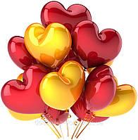 Красные и золотые гелиевые воздушные шары сердечки в подарок любимой девушке