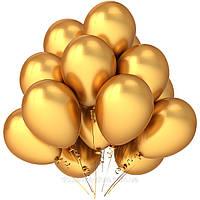 Золотистые воздушные шары с гелием в подарок родителям на золотую свадьбу