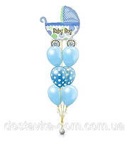 """Композиция из гелиевых воздушных шаров для выписки мальчика из роддома """"Наша радость"""""""