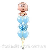 Композиция из воздушных шаров с пупсом для встречи новорожденного мальчика из роддома