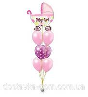 Композиция из воздушных шаров с гелием с коляской для встречи девочки из роддома