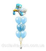 """Композиция из гелиевых воздушных шаров для встречи мальчика из роддома """"Аист"""