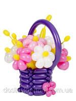 """Воздушные шары в корзине """"Лиловая мечта"""""""