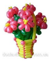 """Плетеная корзина из воздушных шаров """"Розовая фиалка"""""""