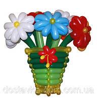 """Корзина цветов из воздушных шаров """"Триколор"""""""