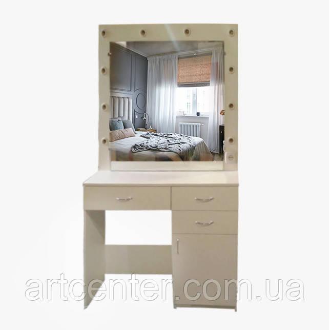 Стол визажный с ящиками и лампами