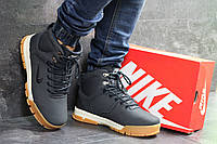 Ботинки зимние мужские в стиле Nike, нубук, натуральный мех код SD-6884. Темно-синие с коричневым