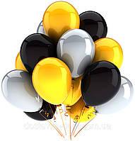 Шары с гелием в черных, желтых и серых цветах