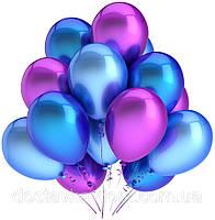 Гелиевые фиолетово-синие воздушные шарики на вечеринку