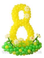 Цифра восемь из воздушных шаров ко дню рождения на 8 лет и подарок девушке к 8 марта
