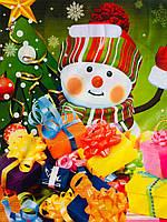 Пакет цветной  с прорезной ручкой 34*41 Снеговик ХВГ
