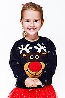 Свитер Рождественский с оленями детский Синий, 116